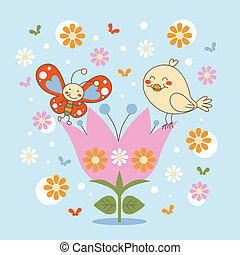 Butterfly and Bird - Bird and butterfly dancing on top of a...
