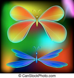 Butterfly and dragonfly.