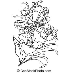 butterfly and   flower cartoon coloring page vector illustration