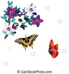 Butterfly And Flower White Background Vector Image