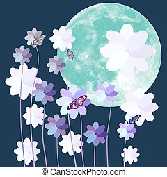 Butterfly and flower with big full moon on blue background