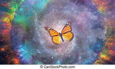 Butterfly and galaxy inside circle of fire