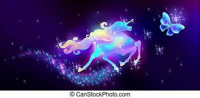 Butterfly and galloping iridescent unicorn with luxurious winding mane against the background of the fantasy universe with sparkling stars