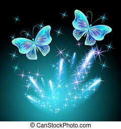 Butterfly and glowing salute - Transparent butterfly and...