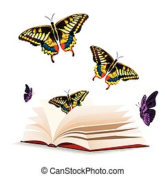 Butterfly And Open Book Background Vector Image