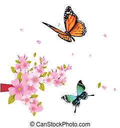 Butterfly And Pink Flower White Background Vector Image