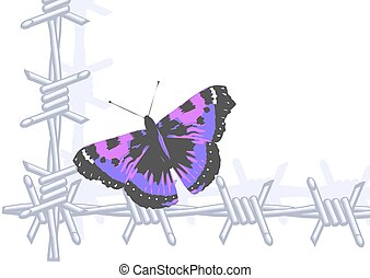 butterfly and wire - barbed wire and butterfly. abstract ...
