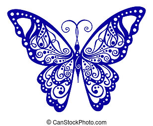 Artistic pattern with butterfly, suitable for a tattoo.