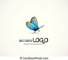 Butterfly artwork of a small blue insect logo vector image