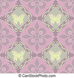Butterfly background floral seamless pattern
