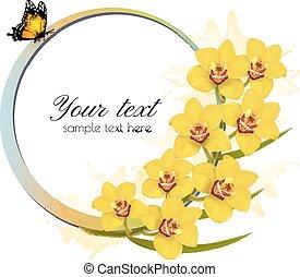 butterfly., bannière, vector., jaune, orchidées