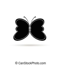 butterfly black and white vector silhouette illustration