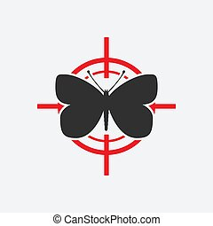 Butterfly black silhouette on a red target