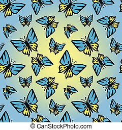 Butterfly blue-yellow seamless