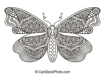 butterfly., bonito, ornamento
