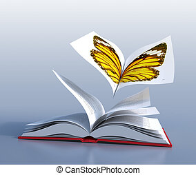 Butterfly book - Red hardcover book open in its middle, as...