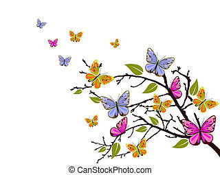 butterfly branch - vector illustration of colorful ...