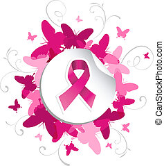 Breast cancer awareness pink ribbon in sticker over spring background. Vector file layered for easy manipulation and custom coloring.