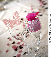 Butterfly bride place setting
