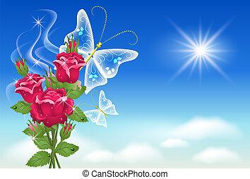 butterfly., céu, rosas