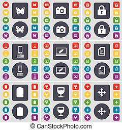 Butterfly, Camera, Lock, Smartphone, Laptop, Text file, Battery, Wineglass, Moving icon symbol. A large set of flat, colored buttons for your design. Vector