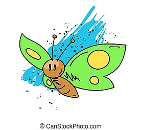 Butterfly cartoon hand drawn image