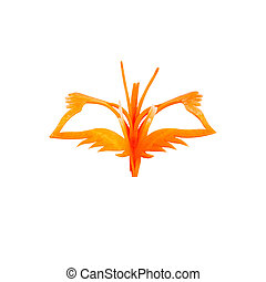 butterfly carving made from carrots for meal decoration on white with clipping path