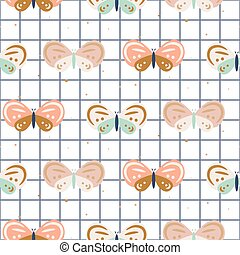 Butterfly checkered pastel colored baby seamless vector pattern.