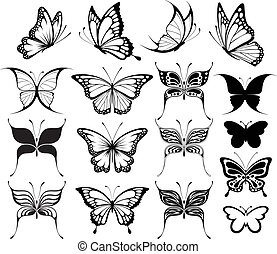 butterfly clipart - set of butterflies silhouettes isolated ...
