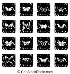 Butterfly collection icons set grunge