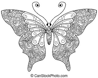 Butterfly Coloring book vector for adults - Butterfly...