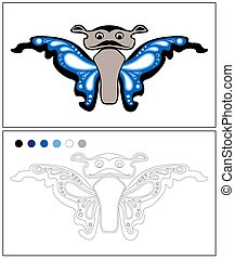 Butterfly. Coloring page. Isolated