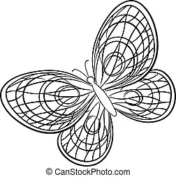 Vector, butterfly, hand-draw monochrome contours on a white background