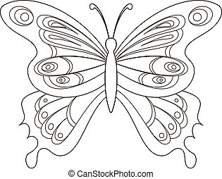 Butterfly, contours - Butterfly with opened wings, contours....