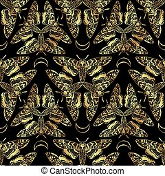 Butterfly Deaths head hawk moth seamless pattern - Butterfly...