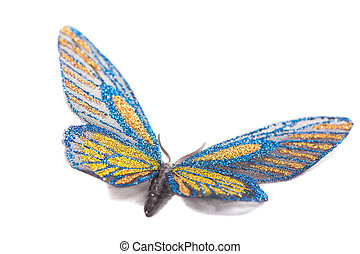 Butterfly decorative blue and yellow isolated on a white background