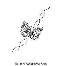 butterfly, design element, sketch,