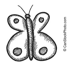 butterfly doodle, vector