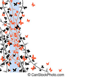 Butterfly edge - Illustration of butterflies and vines