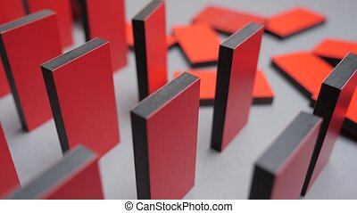 Butterfly effect. Red domino falling down one by one. Conceptual. Cause and reason connection. Crisis idea. Business to business. Red domino. Falling red color domino. Causality background