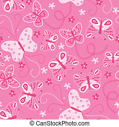 Butterfly embroidery seamless pattern