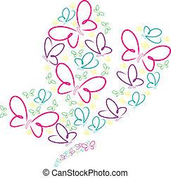 Butterfly - Hand drawn butterflies in a butterfly shape in...