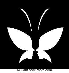 butterfly-, faccia, logotipo, signora