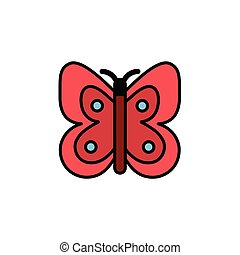 Butterfly. Filled color icon. Pharmacy vector illustration...