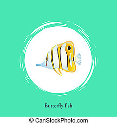 Butterfly Fish Title Poster Vector Illustration - Butterfly...