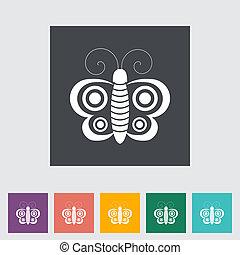 Butterfly flat single icon.