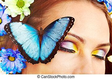 butterfly., fleur, femme