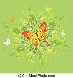 butterfly, floral background