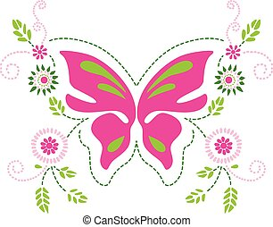 Butterfly floral ornament