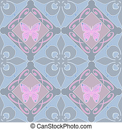 Butterfly floral seamless pattern